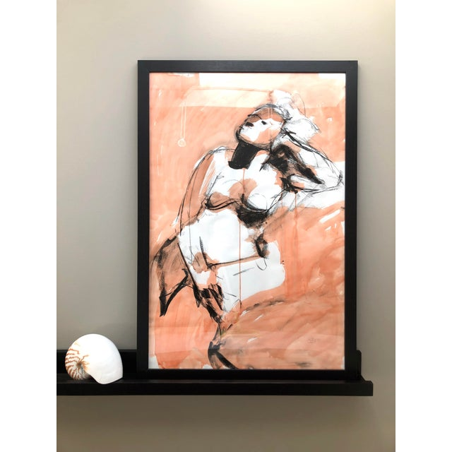 This is an original large-scale figure drawing, drawn from a live model in ink and charcoal by Artist David Orrin Smith,...