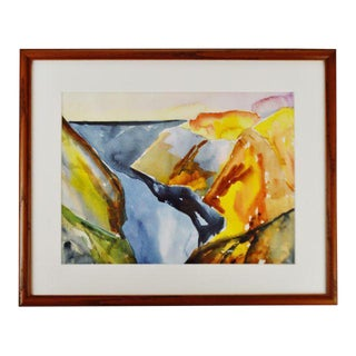 Vintage Framed Artist Proof Abstract Watercolor Print - Artist Signed For Sale