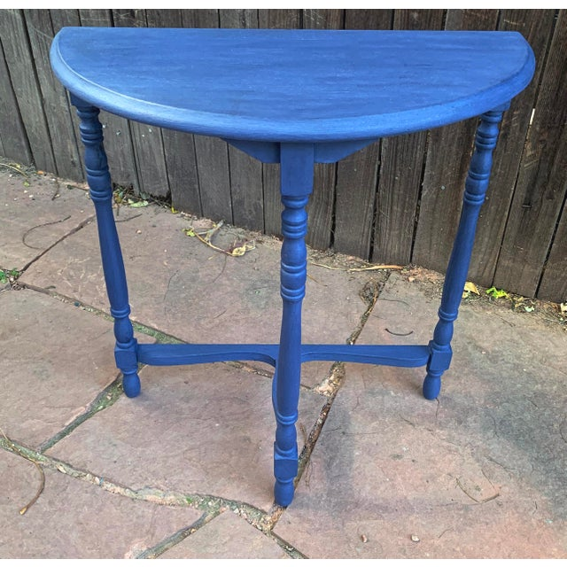 Transitional Blue Chalk Paint Demi Lune Side Table With Turned Legs For Sale - Image 13 of 13