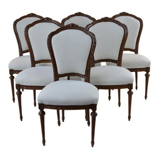 Antique French Style Dining Chair Taupe Set of Six For Sale