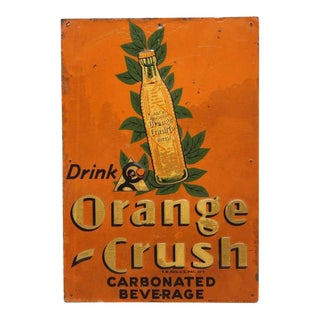"1920's Embossed Tin ""Orange Crush"" Sign For Sale"
