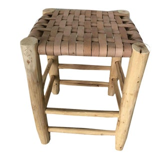 Modern Leather Moroccan Stool For Sale