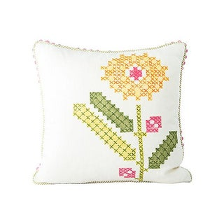Faux-Embroidery Floral Accent Pillow For Sale