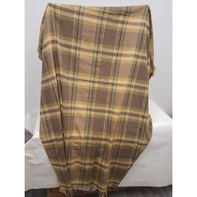 Merino Wool Throw Soft Light Beige Green Blue Purple Plaid - Made in England For Sale - Image 4 of 9