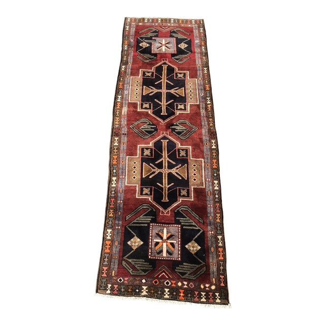"1950s Art Deco Persian Meshkin Wool Runner - 3'8""x11'7"" For Sale"