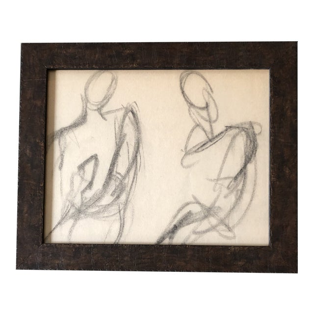 Vintage Original Abstract Charcoal Study Drawing Double Figures 1950's For Sale