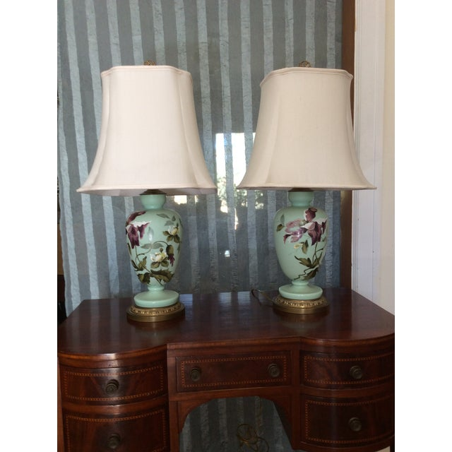 1930s Hand Painted Porcelain Lamps - a Pair For Sale - Image 9 of 12