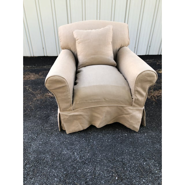Tan George Smith Full Scroll Arm Chair With Slipcover For Sale - Image 8 of 11