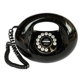 70s Vintage Black Donut Handbag Landline Telephone For Sale