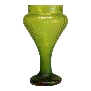 Bohemian Green Art Glass Vase For Sale