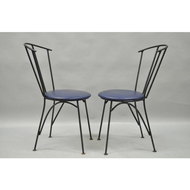 Blue 4 Vintage Mid Century Modern Brutalist Iron Rebar Dining Chairs Industrial Steampunk For Sale - Image 8 of 11
