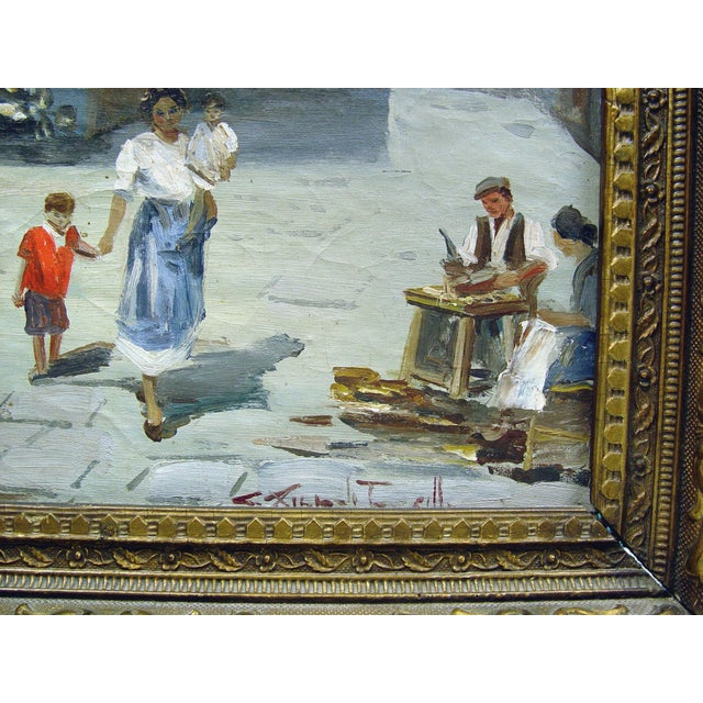 French Italian Street Scene Painting, Circa 1900 For Sale - Image 3 of 5
