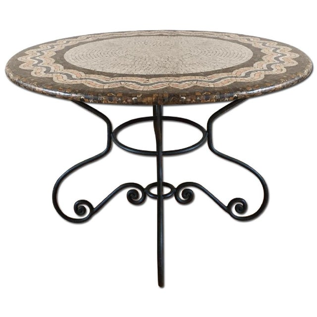 Iron Base Serpentine Mosaic Style Table Top - Image 1 of 2