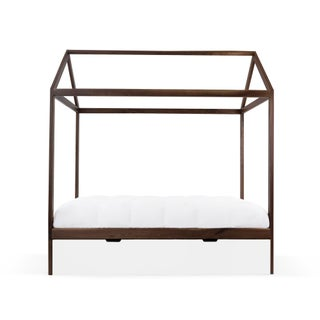 Domo Zen Twin Trundle Canopy Bed in Walnut With White Finish Preview