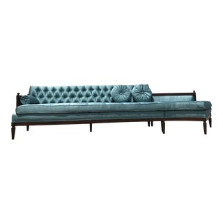 Mid Century Modern Blue Upholstery Sectional Sofa
