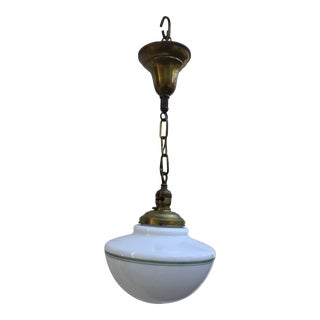 Vintage Art Deco Brass Hanging Fixture With Shade For Sale