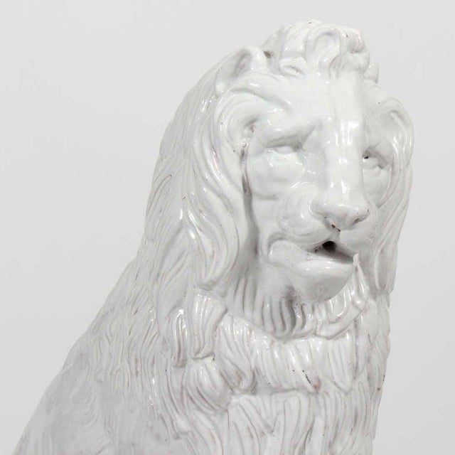 Majolica Facing Early to Mid-20th Century Regal, Majolica Lion Figures - A Pair For Sale - Image 4 of 9