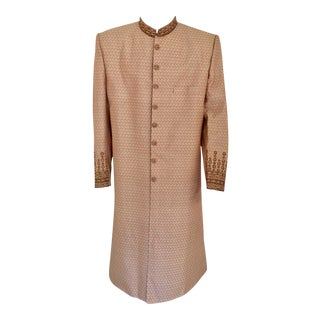 Gold Brocade Gentleman Indian Wedding or Party Maharaja Sultan Tuxedo Coat For Sale