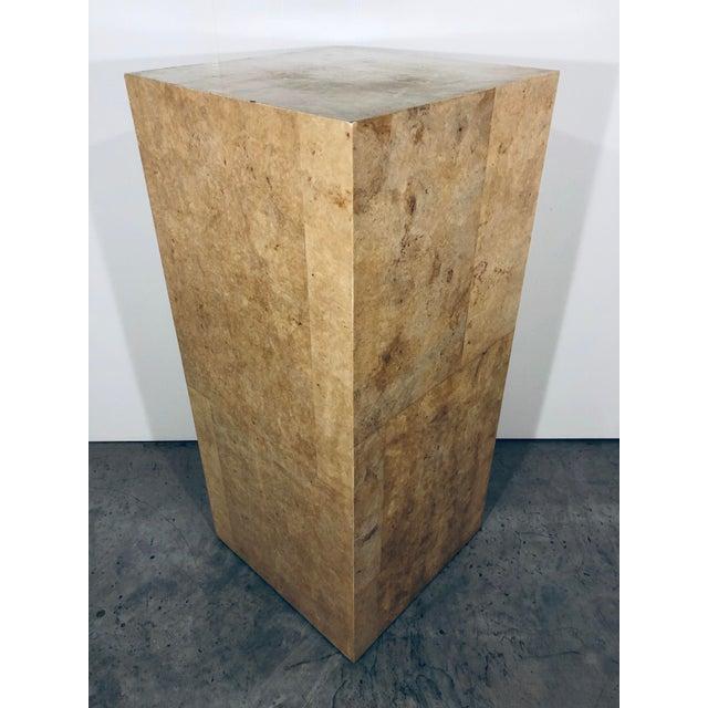 Paper Karl Springer Style Decorative Parchment Display Pedestal For Sale - Image 7 of 13