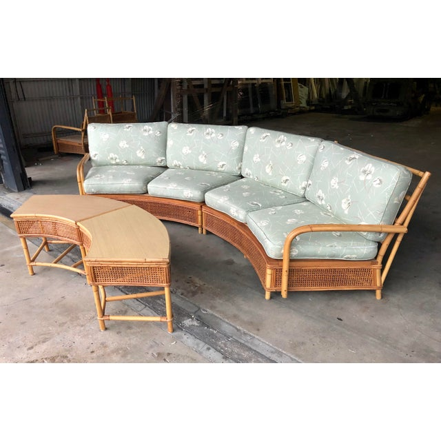 Mid century Ficks Reed rattan sectional sofa with matching curved tables. Sofa sections and tables can be separated to...