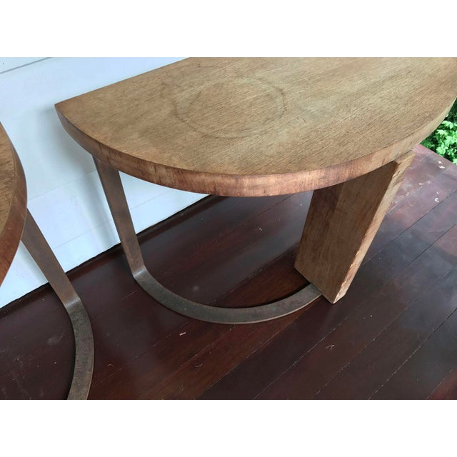 Artist Crafted Wood and Steel Demilune Side Tables - a Pair - Image 5 of 7