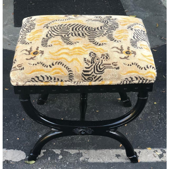 Vintage Designer French X Bench w Clarence House Tibetan Tiger Cushion