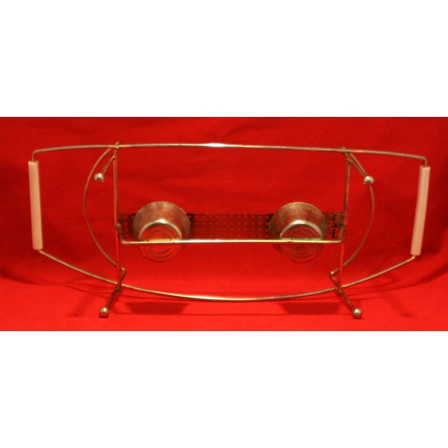 Mid-Century Pyrex Starburst Lidded Divided Casserole With Stand For Sale - Image 5 of 10