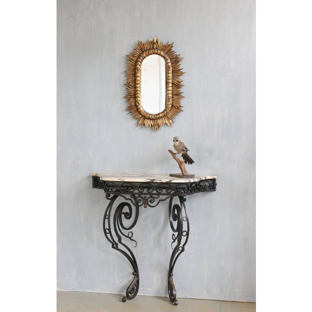 Spanish 1950s Giltwood Oval Sunburst Mirror For Sale - Image 9 of 10