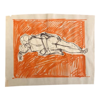 1970s Collaged Figure Study Drawing by Hilliard Dean For Sale