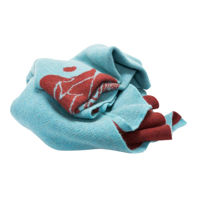 Cabin Collection Blanket in Turquoise & Brick Red For Sale