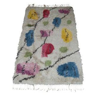 Vintage Swedish Modern 3x6 Floral Shag Rya Rug For Sale