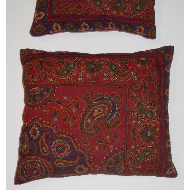 Hand Embroidery Antique Pillows - A Pair - Image 7 of 10