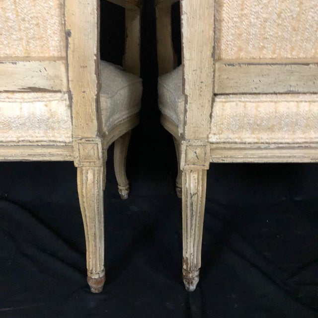 Wood Louis XIV Neoclassical Style Cream Painted French Bergere Armchairs -A Pair For Sale - Image 7 of 13