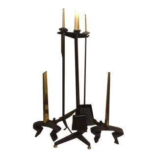 Donald Deskey Andirons, Stand & Fireplace Tools