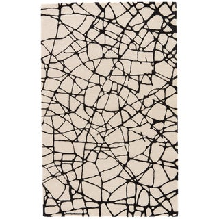 Nikki Chu by Jaipur Living Chandler Handmade Abstract Cream/ Black Area Rug - 2′ × 3′