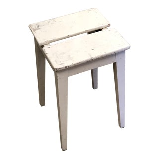 Small Antique White Painted Wood Stool
