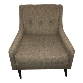 Modern Upholstered Tufting in a Grey Tone Arm Chair For Sale