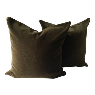 """2 Brown Mohair 20"""" Pillows-Feather Inserts"""