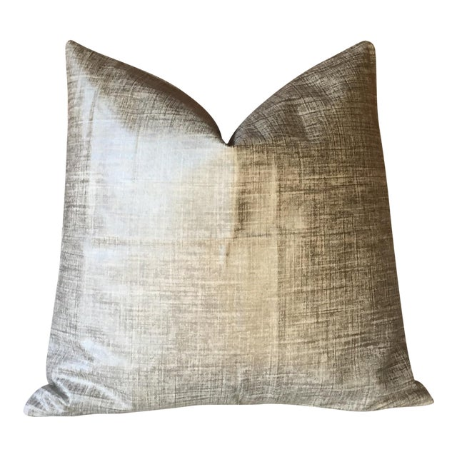 Platinum Metallic Linen Pillow Cover - Image 1 of 5