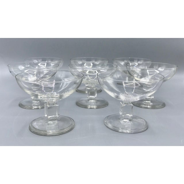 Val Saint-Lambert Vintage Mid-Century Nevel Cube Stem Crystal Coupe Champagne Glasses by Val St. Lambert - Set of 8 For Sale - Image 4 of 10