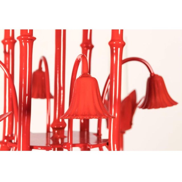 Asian Chinoiserie Pagoda Small Red Chandelier For Sale - Image 3 of 6