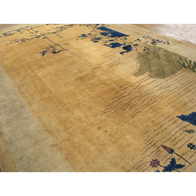 "Antique Chinese Art Deco Rug 9'0"" X 14'6"" For Sale - Image 4 of 9"