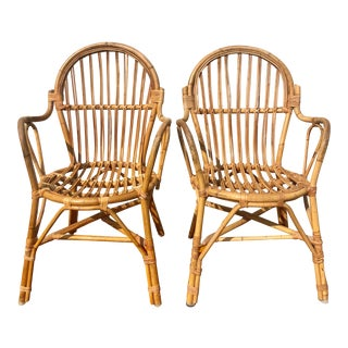 Albini Style Bamboo Rattan Bistro Chairs- a Pair For Sale