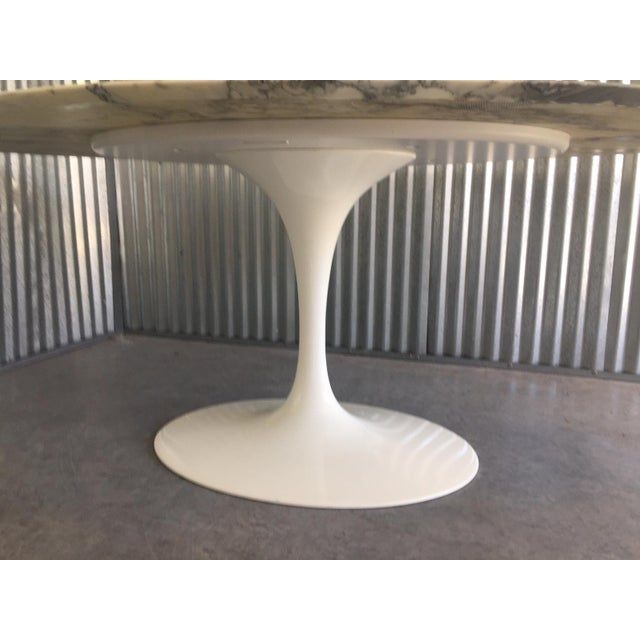 "Eero Saarinen Authentic Knoll Eero Saarinen 78"" Oval Arabescato Marble Dining Tulip Table For Sale - Image 4 of 13"
