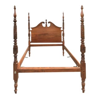 Antique Acanthus Carved Queen Size 4 Poster Bed For Sale