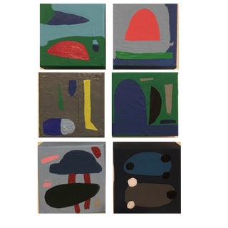 Brooks Burns Original Abstract Acrylic Paintings - Set of 6 For Sale