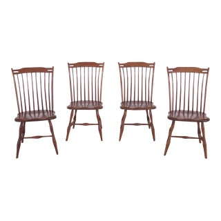 1990s Vintage Cherry Windsor Style Dining Chairs - Set of 4 For Sale