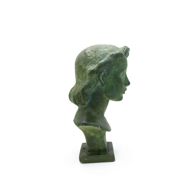 Plaster French Art Deco Patina Lady Bust For Sale - Image 7 of 10