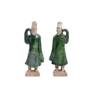 Pair of Antique Ming Dynasty Chinese Green Glazed Statues of Attendants For Sale