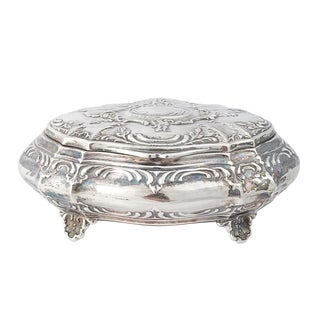 1900s Antique Peruvian Sterling Silver Jewelry Box For Sale